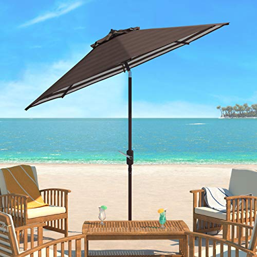Safavieh PAT8007D Collection Athens Brown and White Inside Out Striped 9Ft Crank Outdoor Auto Tilt Umbrella (Striped Brown Patio Umbrella)
