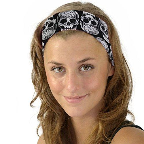 Skull Fiesta Party Headband Sugar Skulls Soft Headband Dia de los Muertos OS (Skull Headband)