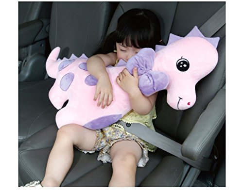 Dino Angel Car Baby Strap Belt Cover Dinosaur Stuffed Doll for Car Safety Belt Shoulder Pad Vehicle Seat Belt Cushion for Kids Pink