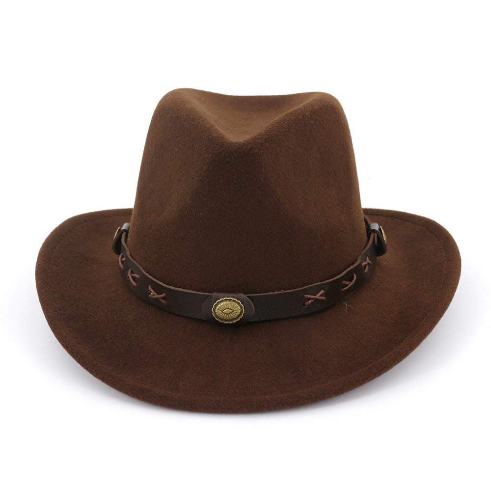 Color : 4 JCH Ethnic Style Men and Women Couple Hats Woolen Western Cowboy hatWool Cotton Polyster Hat for Winter Autumn