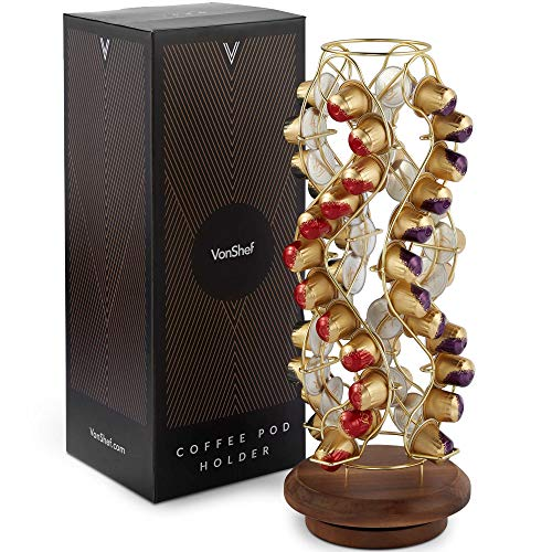 VonShef Coffee Pod Holder, Decorative Brushed Gold Stainless Steel Wire Mounted On Wooden Stand, 42 Pod Capacity Compatible with Nespresso Capsule