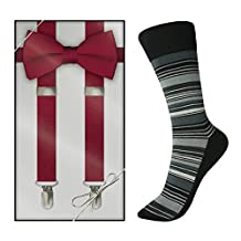 Apple Red Bow Tie & Suspender with Striped Sock