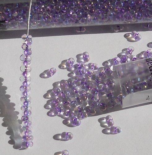 (Purple Rainbow Inside Color 2x4mm 6/0 Peanut Farfalle Butterfly Seed Beads 23 Gram Tube)