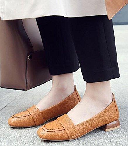 Idifu Womens Décontracté Orteil Carré Bas Haut Slip Sur Les Pompes Faible Talons Chunky Court Chaussures Jaune