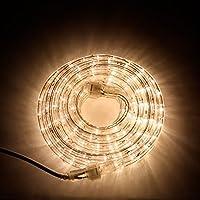 24 pies Luces de cuerda enchufables, 287 LED blancos cálidos, conectables, regulables, impermeables, uso en interiores y exteriores, ideales para patios, bodas y decoración navideña