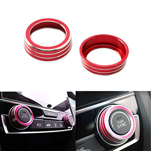 Xotic Tech 2x Red Anodized Aluminum AC Climate Control Ring Knob Covers For 16-up Honda Civic