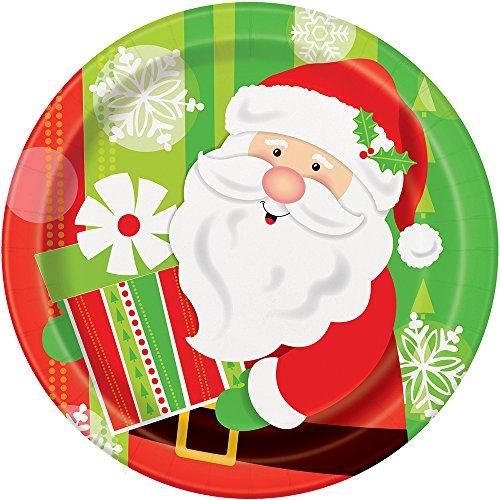 [Happy Santa Christmas Dinner Plates, 8ct] (Unique Santa Costumes)