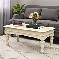 Farmhouse Coffee Table Provides Classic Style And Function. Centerpiece Suitable For A Living Room, Office Space, and Den. Modern Rustic Cream Hardwood And Light Distressing Create Timeless Atmosphere