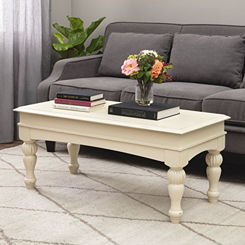 Farmhouse Coffee Table Provides Classic Style And Function. Centerpiece Suitable For A Living Room, Office Space, and Den. Modern Rustic Cream Hardwood And Light Distressing Create Timeless Atmosphere (Cream Tables Coffee)