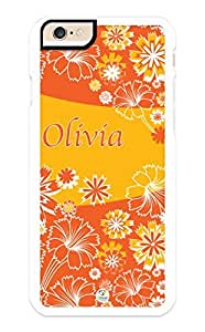 linJUN FENGiZERCASE iPhone 6 PLUS Case Personalized Orange Flowers Pattern RUBBER CASE - Fits iPhone 6 PLUS T-Mobile, AT&T, Sprint, Verizon and International (White)