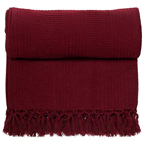 Whisper Organics 100% Organic Cotton Throw Blanket - GOTS Certified (60x80, Burgundy)