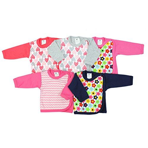 Baby Flügelhemdchen Langarm Jungen Wickelshirt 100% Baumwolle Mädchen Wickelhemd im 5er PACK, Farbe: Mädchen, Größe: 74