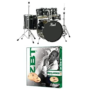 pearl centerstage drum set black with zildjian zbt starter cymbal set and hardware. Black Bedroom Furniture Sets. Home Design Ideas