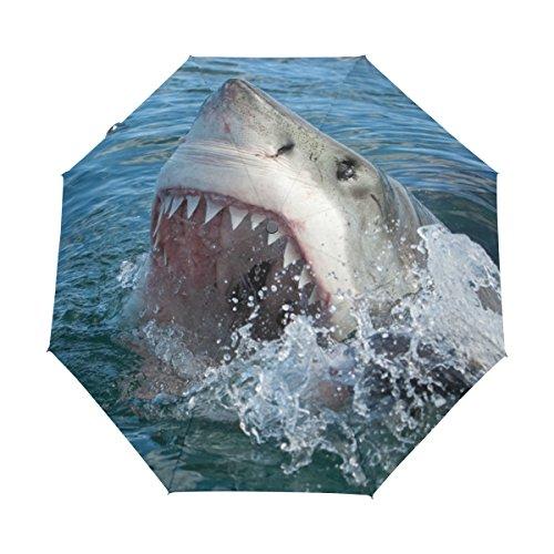 Shark Fiberglass - Naanle Great White Shark Ocean Auto Open Close Foldable Windproof Travel Umbrella