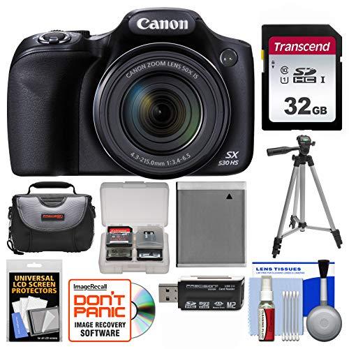 Canon PowerShot SX530 HS Wi-Fi Digital Camera with 32GB Card + Case + Battery + Tripod + Kit