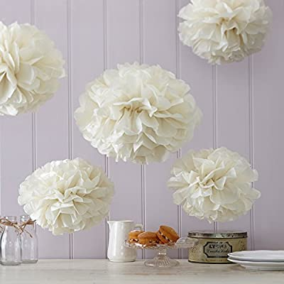 Ginger Ray Vintage Lace Tissue Paper Pom Poms Wedding & Party Decorations 5 Pack, Ivory