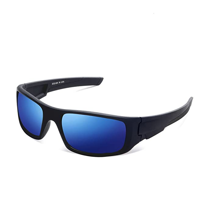 WRAP AROUND SPORT Motorcycle Riding Driving Fishing SUN GLASSES Black Blue Frame