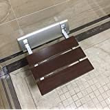 Wall Mounted Luxury Bathroom Folding Solid Wood Shower Seat Wide Base