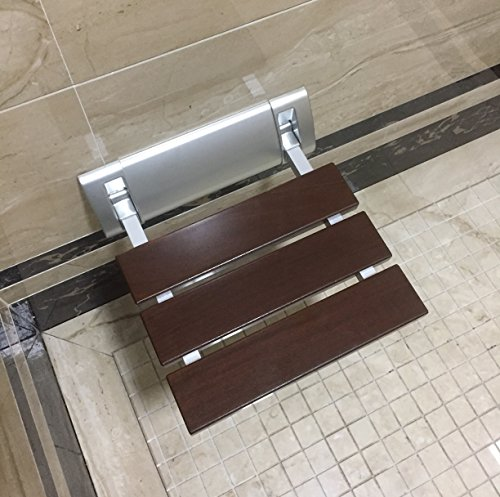 DIYHD 12' Luxury Bathroom Solid Wood Folding Shower Seat Brushed Wall Mount Wide Base Shower Bench