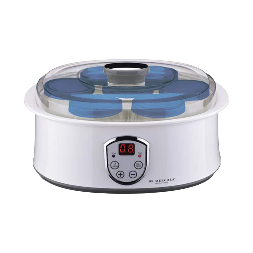 Dr. Mercola Kinetic Culture Yogurt Maker - Fully Automatic Electronic Yogurt Maker with 7 Glass Jars & Lids, Positive Temperature Coefficient Technology, 120 Volts