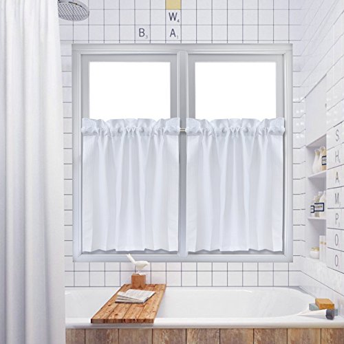 Tier Curtains,Waffle Weave Textured Rod Pocket Tailored Short Curtains for Bathroom Water Repellent Window Covering Kitchen Cafe Curtains - 30