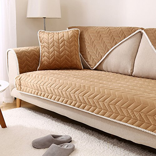 Plush sofa cover,Winter Simple Anti-skidding Fabric Sofa All Universal Solid wood sofa cushion-B ...
