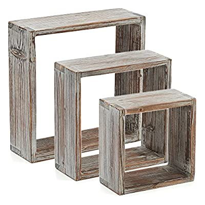 Floating Shelves, EZOWare Set of 3 Rustic Torched Wood Cube Square Storage Wall Decorative Display Shelves - Brown - Attractive Home Decor: EZOWare Rustic Square Floating Shelves offer an attractive solution to maximize wall decor. The open shadow box design creates a versatile way to showcase, display, and organize - memorabilia, collectibles, picture frames, home decor knick-knacks, or other items. Versatile Design: Rustic wooden accent that has a neutral natural weathered white-washed and torched color scheme to complement almost any style or room decor preference. Perfect for living room, entryway, hallway, bedroom, nursery or other room use. Floating Shelves: Embedded keyhole slots for hidden mounting and floating shelf effect. Clean looking, non-visible mounting solution to maximize display and decoration. You must use your own tools to level and secure wall attachment. - wall-shelves, living-room-furniture, living-room - 51AixPJctBL. SS400  -