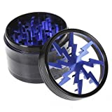 Herb - Tobacco Grinder with Pollen Catcher and two Scrapers – Blue Lightning - 4 Layer - 2 1/2'' x 1 7/8'' Premium Grade Aluminum Body