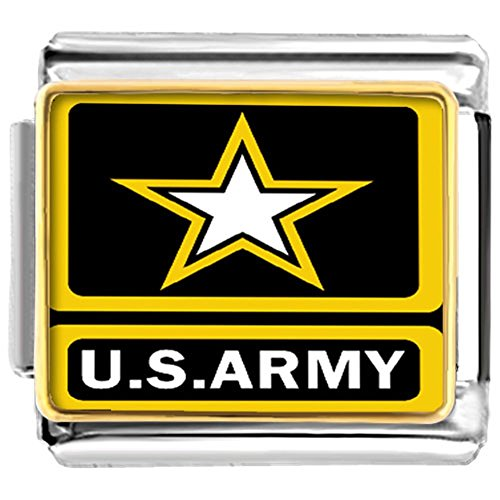 Army Italian Charm - LuckyJewelry USA ARMY Nomination Etched Italian Charm Sale Cheap fit Bracelet Link