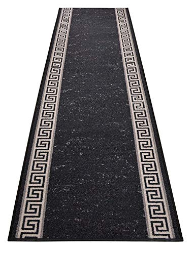 RugStylesOnline Custom Runner Meander Roll Runner 36 Inch Wide x Your Length Size Choice Slip Skid Resistant Rubber Back 7 Color Options (Black, 10 ft x 36 in)
