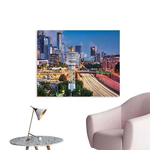 Tudouhoho United States Poster Paper Atlanta Georgia Urban Busy Town with Skyscrapers City Landscape Art Decor Decals Stickers Pale Blue Yellow Coral W48 xL32]()