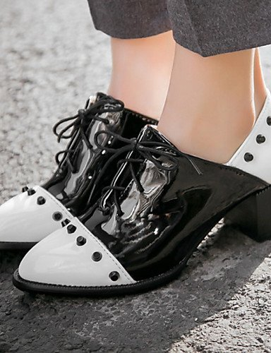 ZQ hug Zapatos de mujer-Tacón Robusto-Tacones / Punta Redonda / Punta Cubierta-Tacones / Oxfords-Oficina y Trabajo / Vestido / Casual-Cuero , white-us12.5 / eu45 / uk10.5 / cn47 , white-us12.5 / eu45 white-us6 / eu36 / uk4 / cn36