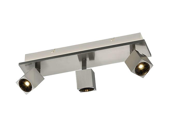 3 De flammiger - Foco de Techo LED en níquel mate con ...