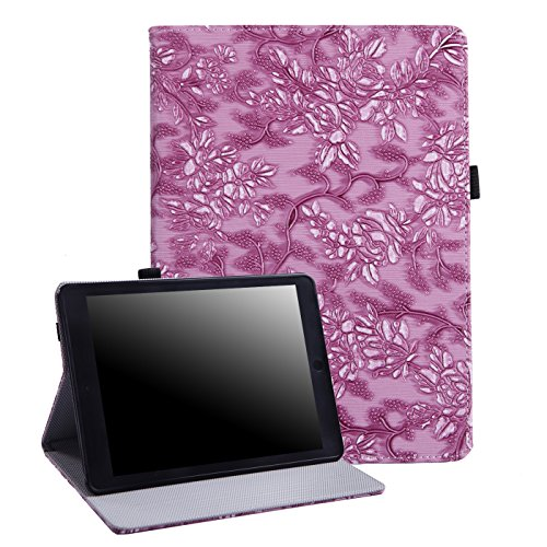 (HDE Case for iPad Air 2 Slim Fit Leather Folio Cover Magnetic Auto Sleep Wake Protective Flip Stand for Apple iPad Air 2 (2014 Release) (Purple Embossed Flower))