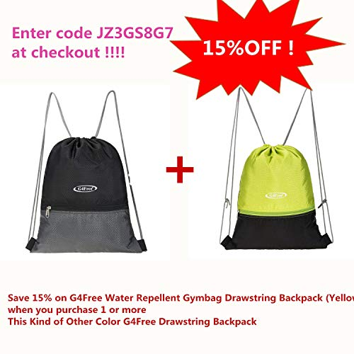 G4Free Water Repellent Gymbag Large Drawstring Backpack String Bag Cinch  Sack Gymsack Sackpack for Shopping Sport 56c18e6b48