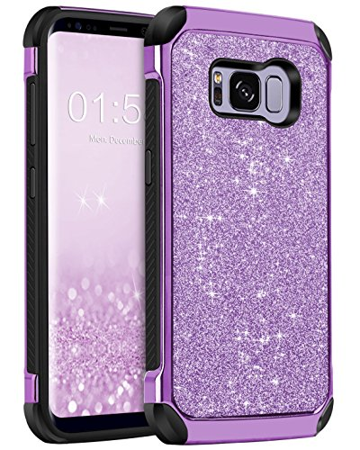 Galaxy S8 Case, Samsung Galaxy S8 Case, BENTOBEN Shockproof Glitter Sparkly Bling 2 in 1 Hybrid Hard PC Shiny Faux Leather Chrome Protective Case for Samsung Galaxy S8 2017 (5.8 Inch), Purple