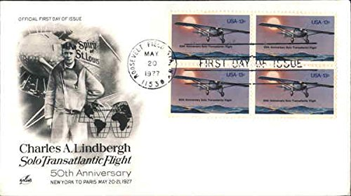 CHARLES A. LINDBERGH Block of Stamps Original First Day -