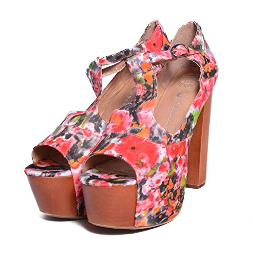 JEFFREY CAMPBELL Foxy Wood Pink Flower Fabric