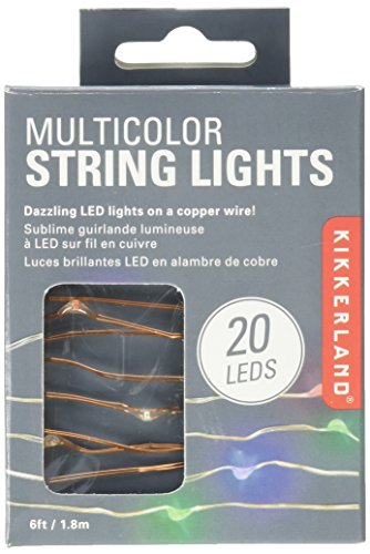 Multi Color Green Wire (Kikkerland String Lights, Battery Operated, Multicolor)