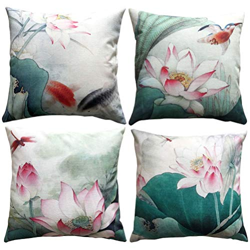 Chinese Ink Painting Pillow Covers Water Lily Flowers Art Drawing Cushion Covers With Green Leaves Bird Fishes Dragonfly Home Decorative Throw Pillowcases 18