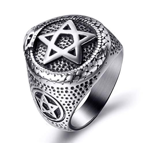 Elfasio Men Stainless Steel Rings Ouroboros Snake Serpent Eating Tail Pentagram Masonic Ring Size 11