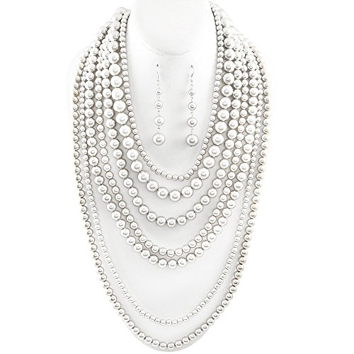 Statement Beaded Layered Strand Metallic Simulated-Pearl Bead Long Necklace Set Gift Bijoux (Beaded Silver Necklace)