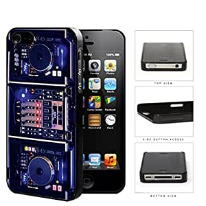 DJ Turntables With Glow Neon Lights Hard Plastic Snap On Cell Phone Case Apple iPhone 4 4s