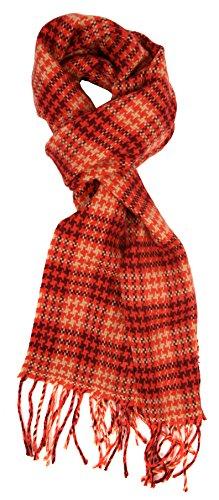 (Love Lakeside Men's Cashmere Feel Winter Plaid Scarf for Winter, Overcoat Orange & Burgundy)