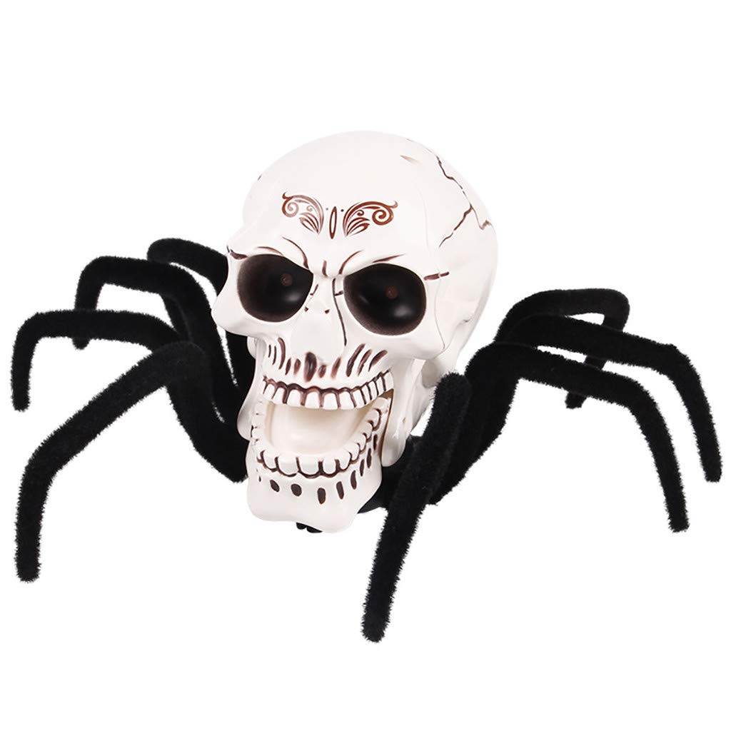 Halloween Skull Remote Control Toy,TADAMI RC Realistic Toy Prank Joke Scary Trick Bugs for Christmas Party Decor Birthdays Holidays Halloween Party,April Fool Puppy Funny Horror Toy (A)