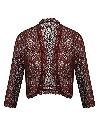 Dealwell Women's 3 4 Sleeve Bolero Shrugs Crochet Lace Open Cardigan for Dresses Plus Size (Wine Red, L) by Dealwell
