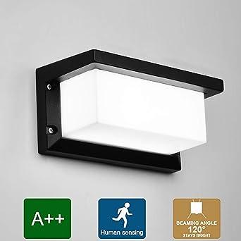 Mengjay 12W LED de pared Lámpara de pared Interior/exterior Moderno Aplique de pared Accesorios de iluminación,con Sensor de Movimiento, Blanco frio: Amazon.es: Iluminación