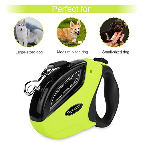 Rosmax Retractable Dog Leash – 16 ft Heavy Duty Dog Leash For Small Medium Large Dog Up to 110lbs – Tangle Free – One Button Break and Lock – Dog Waste Dispenser
