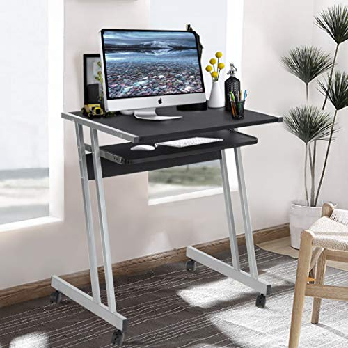 Aingoo Small Computer Desk Rolling Z-Shaped Mobile Student Desk for Small Space Metal Frame withKeyboard Black Study Desk, Black RD-01