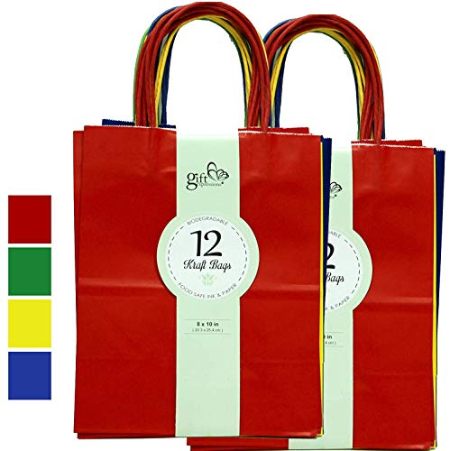 24CT MEDIUM PRIMARY BIODEGRADABLE, FOOD SAFE INK & PAPER, PREMIUM QUALITY PAPER (STURDY & THICKER), KRAFT BAG WITH COLORED STURDY HANDLEs (Medium, Primary)]()